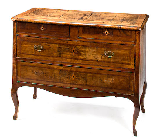 A North Italian Rococo inlaid walnut commode<BR />third quarter 18th century