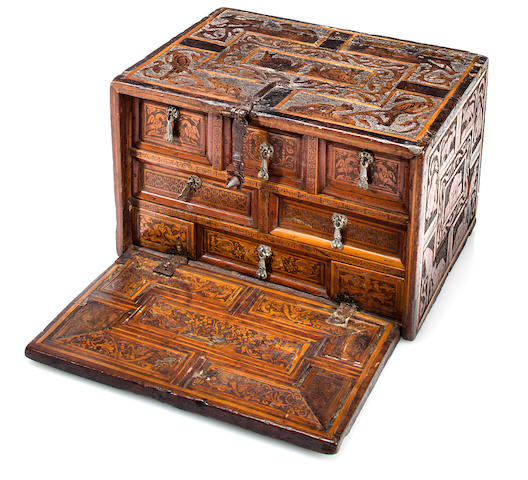 A Hispanic Baroque carved and inlaid table cabinet  17th century