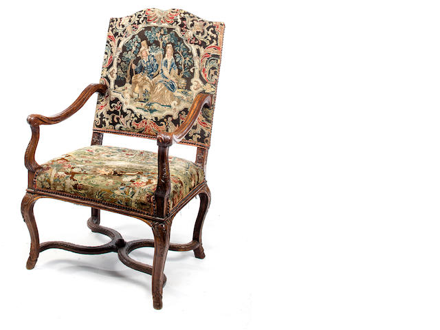 A Regence carved beechwood fauteuil<BR />first quarter 18th century<BR />