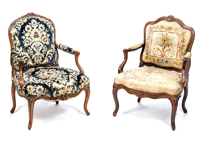 Two Louis XV carved beechwood fauteuils<BR />mid-18th century