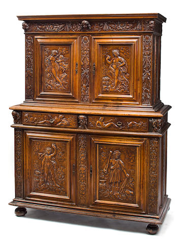 A fine French Renaissance carved walnut meuble à deux corps Burgundo-Lyonnais second half 16th century
