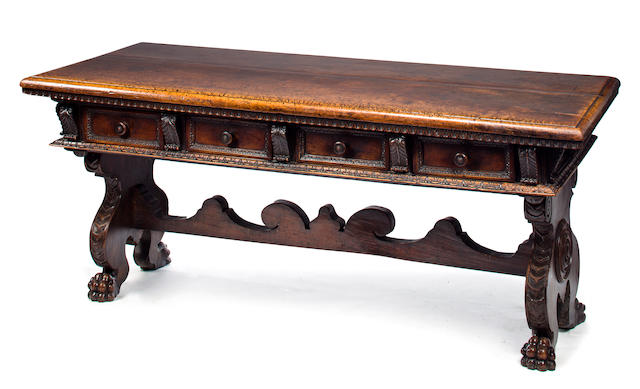 A good Italian Renaissance walnut library table<BR />16th/17th century