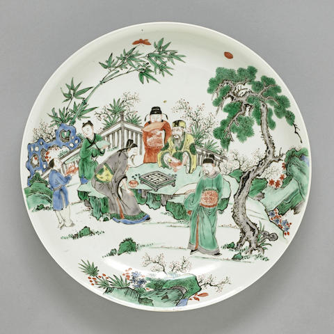 A famille verte porcelain charger with figural design Late Qing/Republic period DESSA CONFIRM PLS.