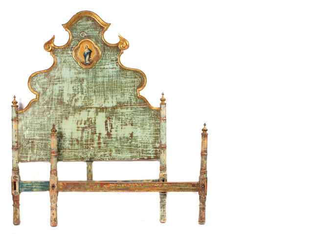A Spanish Rococo paint decorated bed