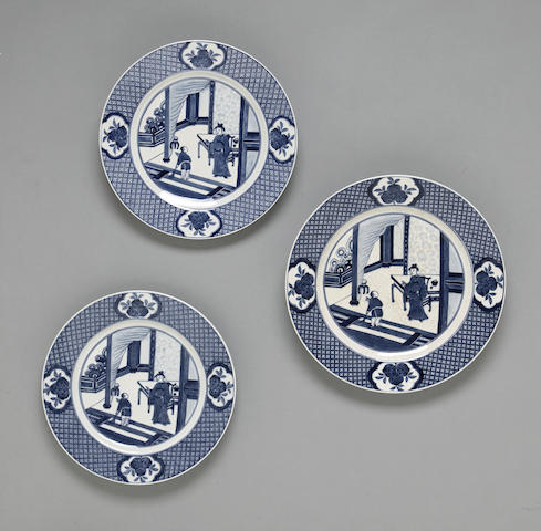 A group of three blue and white porcelain plates Chenghua marks, Kangxi period