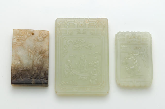 A group of three jade rectangular pendants