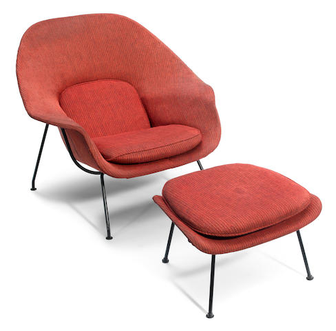 An Eero Saarinen wool upholstered enameled metal Womb chair and ottoman designed circa 1948 for Knoll Associates