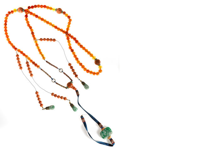 A partial  amber, coral and jadeite court necklace, chao zhu