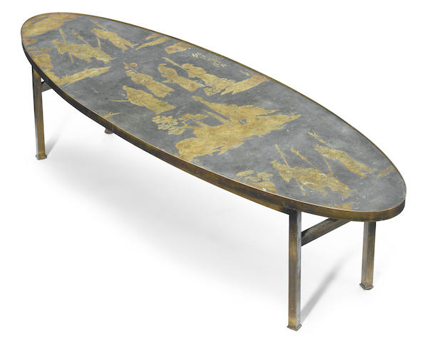 A Philip and Kelvin LaVerne etched bronze coffee table circa 1970