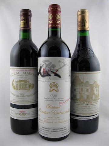 Château Mouton Rothschild 1996 (1)<BR />Château Haut-Brion 1988 (1)<BR />Château Margaux 1990 (1)