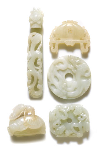 A group of three jade carvings Belt hook: late Qing dynasty