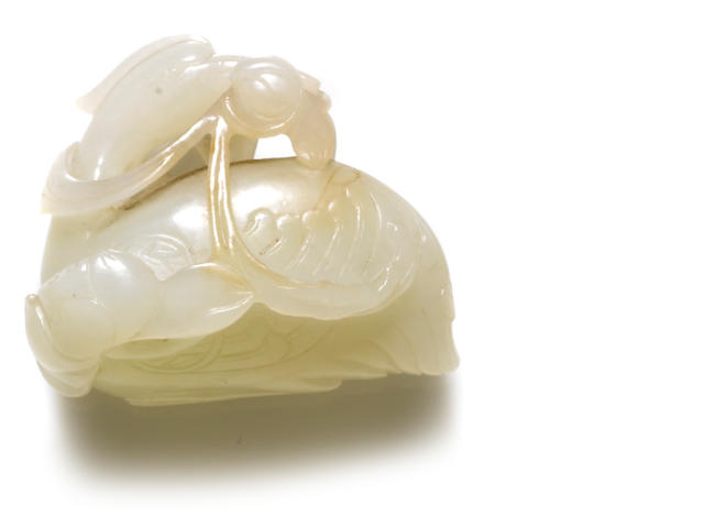 A white jade crane and lotus group
