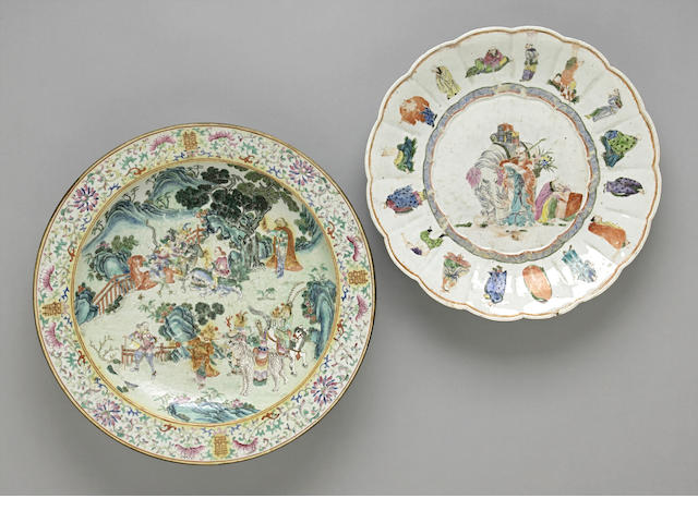 Two famille rose porcelain enameled dishes Late Qing/Republic period