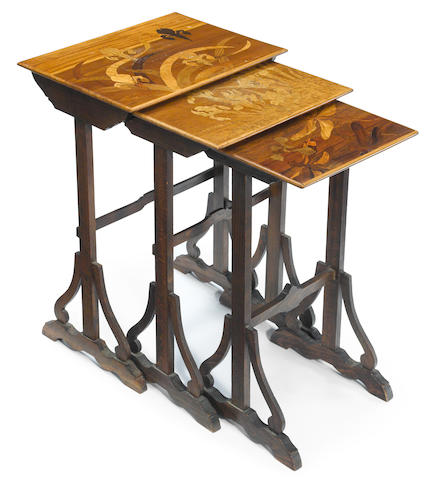 A nest of three Gallé marquetry occasional tables  circa 1900