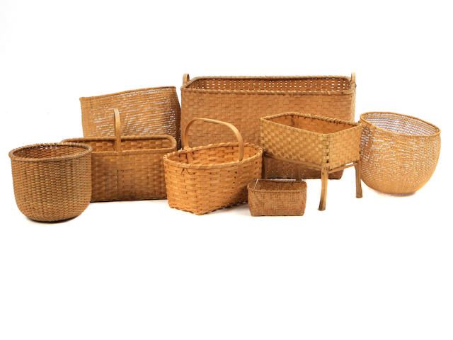 A group of eight Nantucket and other baskets