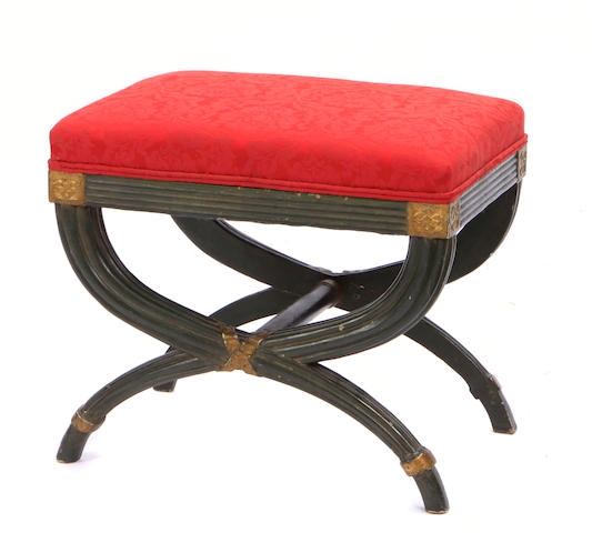 An Italian Neoclassical style parcel gilt paint decorated curule stool
