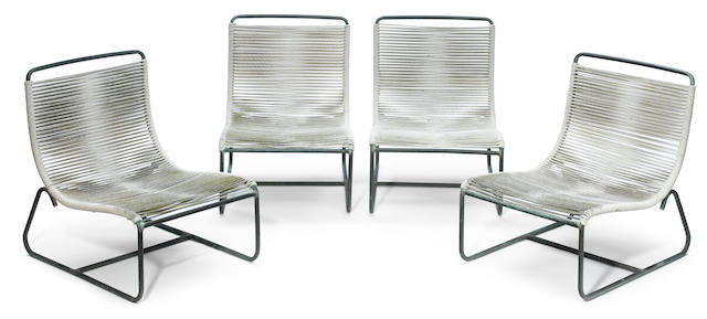 Four Walter Lamb bronze and cord sleigh chairs manufactured by Brown Jordan, model no. C-5720, circa 1950