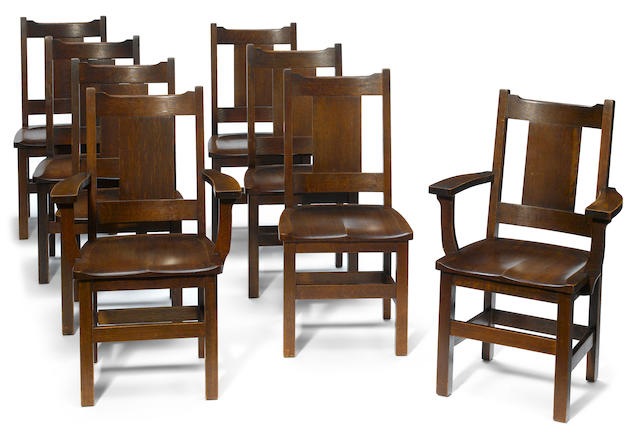 A set of eight Limbert oak dining chairs  circa 1910