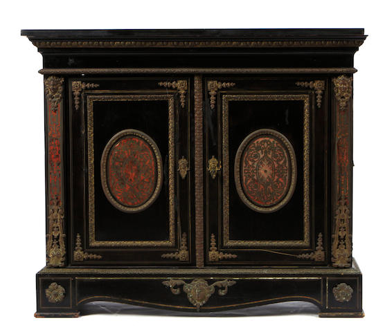 A Napoleon III gilt bronze mounted side cupboard