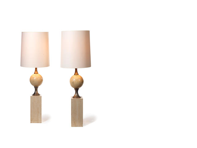 A pair of travertine and nickled metal standard lamps French c 1960