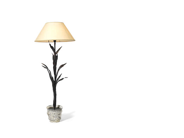 A wrought iron standard lamp Designed by Mme de Castaing for Yves St Laurent French, c 1960