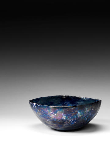 Fausto Melotti A Ceramic Bowl, circa 1950  blue glazed earthenware  Height: 5 in. 12.5 cm. Diameter: 11 7/16 in. 29 cm.