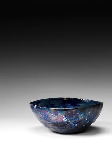A blue glazed bowl Fausto Melotti, Italian c 1950