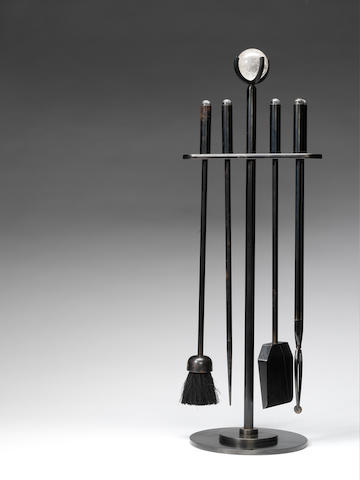Paul Belvoir A Set of Fire Irons 2012  bronze and rock crystal stamped BELVOIR to the base  Height: 31 7/8 in. 81 cm.