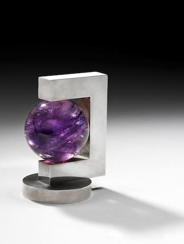 Paul Belvoir A Paperweight designed 2004  sterling silver and amethyst hallmarked to the underside of the base  Height: 4 5/16 in. 11 cm.  This paperweight is unique.