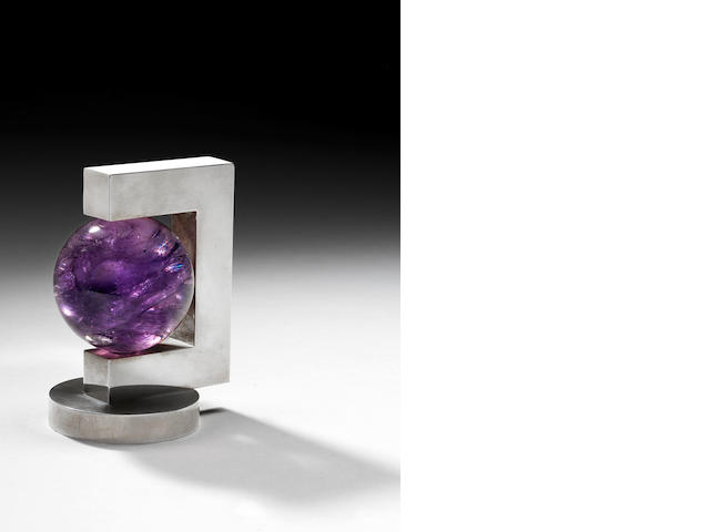 A silver and amethyst paperweight, Paul Belvoir