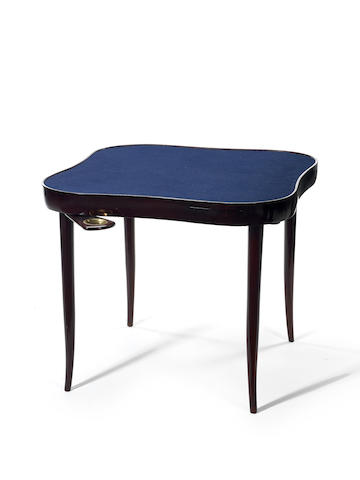 An ebonised card table with four drawers Italian c 1940