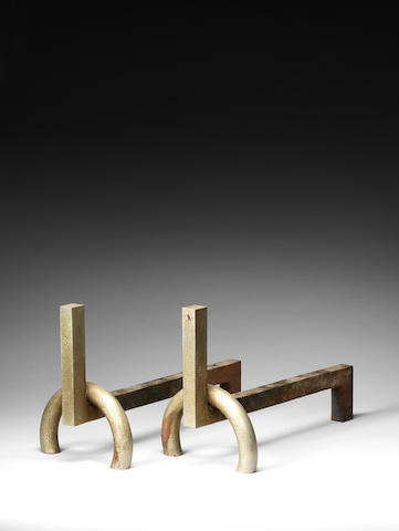 A pair of modernist andirons French c 1930