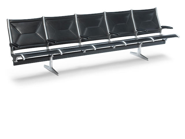 A Charles and Ray Eames steel, enameled metal and upholstered tandem sling airport bench  Herman Miller, designed 1962, this example later