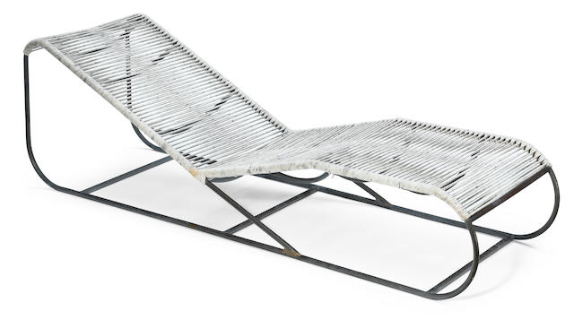 A Kipp Stewart for Terra bronze and cord chaise longue  from the Bronze Age line, model 41000