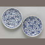 Two blue and white deep dishes with peony decoration Kangxi period