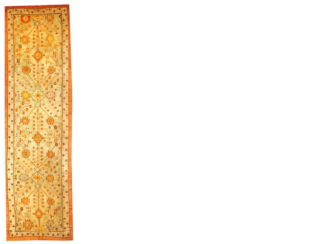 An Oushak runner West Anatolia size approximately 5ft. 8in. x 20ft.