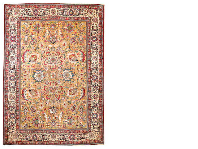 A silk and wool Tehran carpet  Central Persia size approximately 8ft. 8in. x 12ft. 2in.