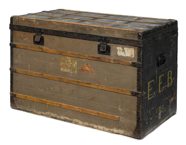 A rare and early Louis Vuitton Trianon canvas, enameled metal and wood steamer trunk  Paris, 1882