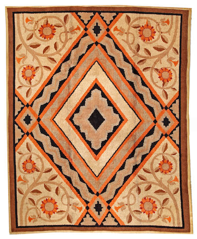 An Art Deco carpet European size approximately 7ft. 10in. x 9ft. 9in..