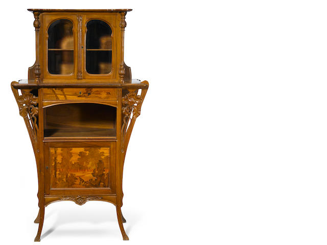 A Gallé marquetry, mahogany and glass vitrine circa 1900