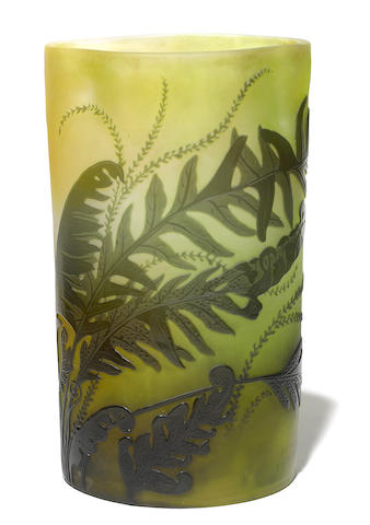 A Galle cameo glass fern vase