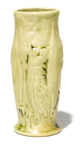 A Tiffany Studios pottery Lily of the Valley vase circa 1905