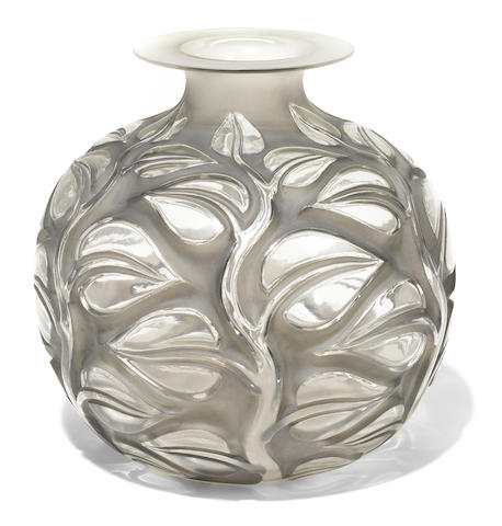 A René Lalique molded glass vase: Sephora (Marcilhac 977), model introduced 1926