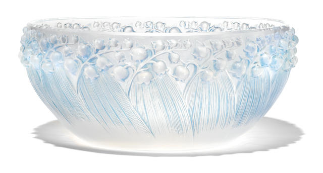 An R. Lalique glass opalescent glass bowl: Muguet