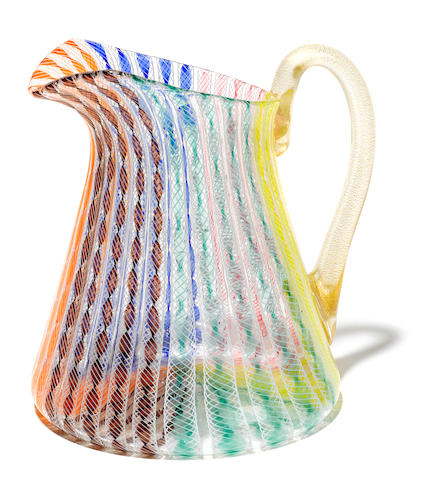 A Seguso filigrana glass pitcher mid-20th century