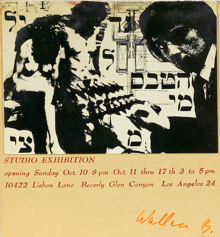 Wallace Berman (1926-1976) Studio exhibition announcement, c. 1964 4 3/4 x 4 1/2in (12.1 x 11.4cm) unframed