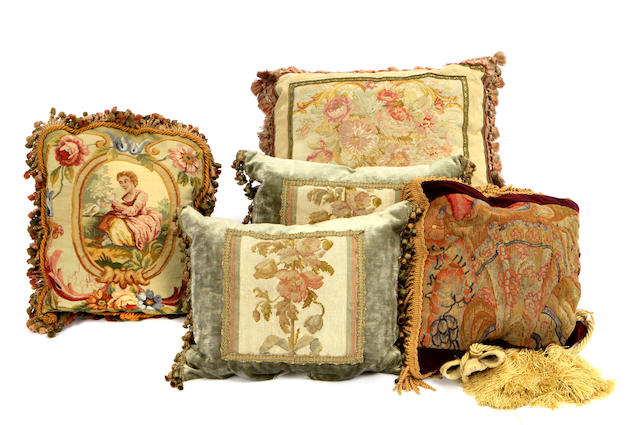 A group of five pillows