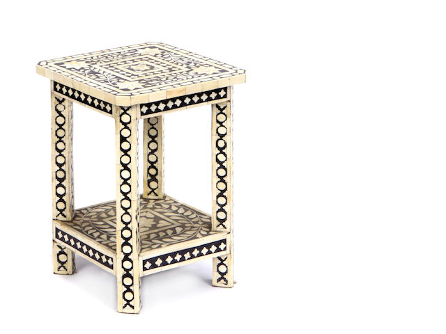 An Indian bone veneered side table