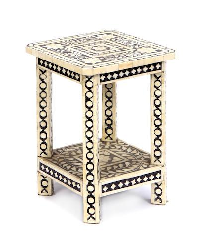 An Indian bone veneered side table