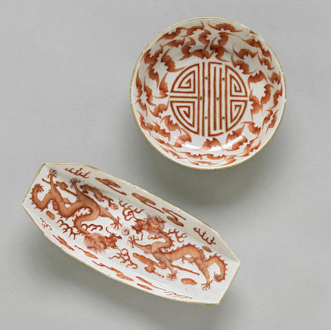 Two small iron-red enameled porcelains 19th century